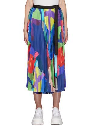 首图 - 点击放大 - SACAI - X KAWS腰带几何图案百褶缎面半裙