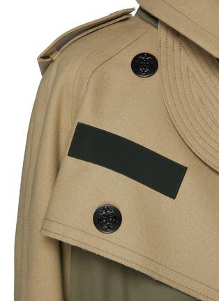 - SACAI - 拼接设计羊毛搭叠前襟大衣