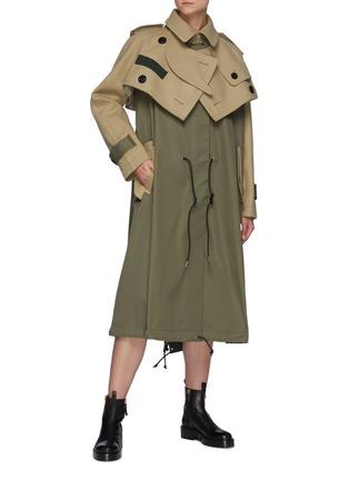 模特儿示范图 - 点击放大 - SACAI - 拼接设计羊毛搭叠前襟大衣