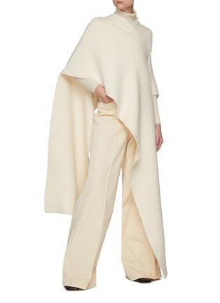 模特儿示范图 - 点击放大 - JIL SANDER - V领不对称提花羊毛针织斗篷式上衣