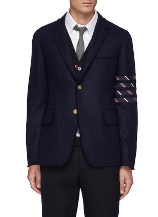 首图 - 点击放大 - THOM BROWNE - 须边拼色四重条纹羊毛西服外套