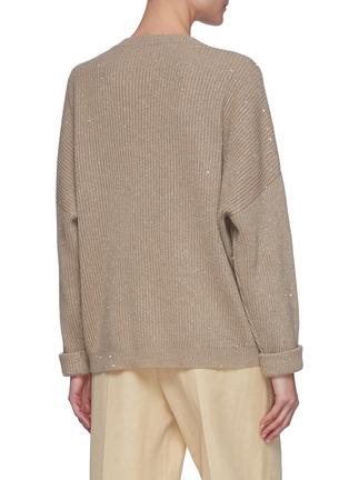 背面 - 点击放大 - BRUNELLO CUCINELLI - 亮片点缀羊绒混羊毛针织衫