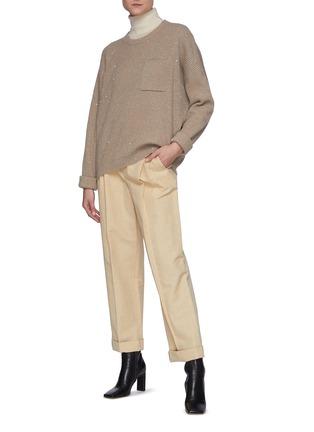 模特儿示范图 - 点击放大 - BRUNELLO CUCINELLI - 亮片点缀羊绒混羊毛针织衫