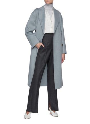 模特儿示范图 - 点击放大 - BRUNELLO CUCINELLI - 可拆式腰带羊绒大衣
