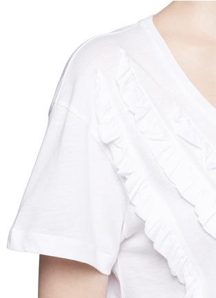 细节 - 点击放大 - DRIES VAN NOTEN - 荷叶边装饰纯棉T恤