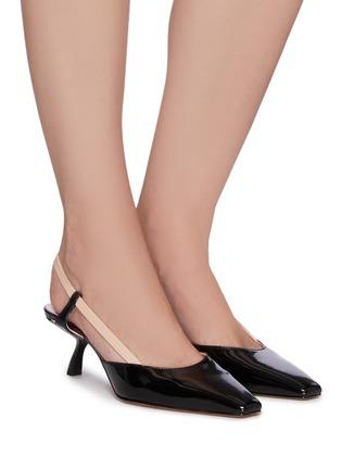 模特儿示范图 - 点击放大 - PIFERI - JUDY拼色弹力搭带高跟凉鞋