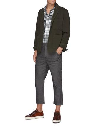 模特儿示范图 - 点击放大 - BARENA - COPPI格纹纯棉衬衫