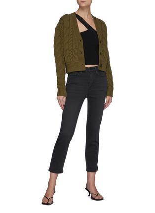 模特儿示范图 - 点击放大 - FRAME DENIM - LE PIXIE SYLVIE水洗直脚牛仔裤