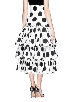背面 - 点击放大 - DOLCE & GABBANA - Paint effect polka dot high waist tier skirt