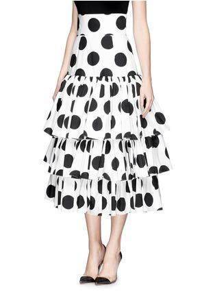 正面 - 点击放大 - DOLCE & GABBANA - Paint effect polka dot high waist tier skirt