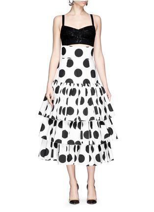 模特示范图 - 点击放大 - DOLCE & GABBANA - Paint effect polka dot high waist tier skirt