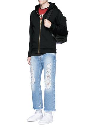模特示范图 - 点击放大 - PALM ANGELS - 金属大拉链开襟纯棉卫衣