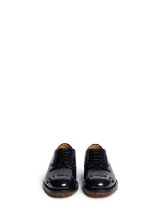 模特示范图 - 点击放大 - VALENTINO - 真皮铆钉系带鞋