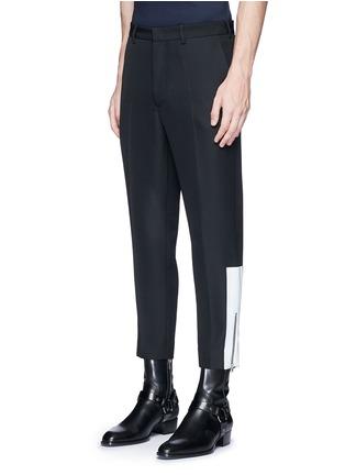 正面 -点击放大 - MC Q - 拉链条纹装饰羊毛九分裤