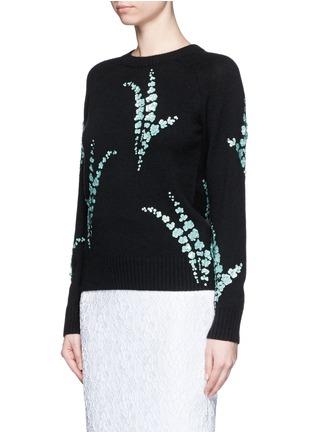 正面 -点击放大 - DRIES VAN NOTEN - 亮片花卉造型羊绒针织衫