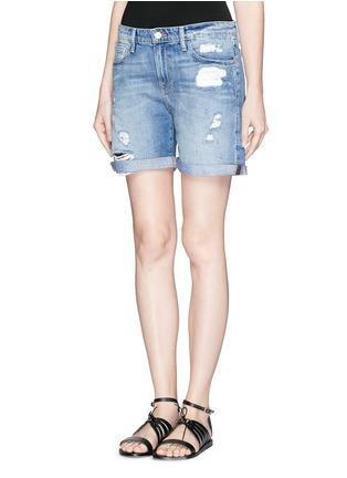 正面 - 点击放大 - FRAME DENIM - LE GRAND GARÇON水洗破洞牛仔短裤