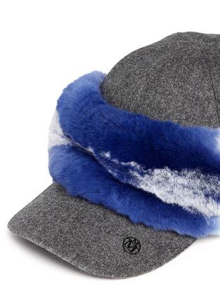 细节 - 点击放大 - MAISON MICHEL - 兔毛点缀毛毡棒球帽