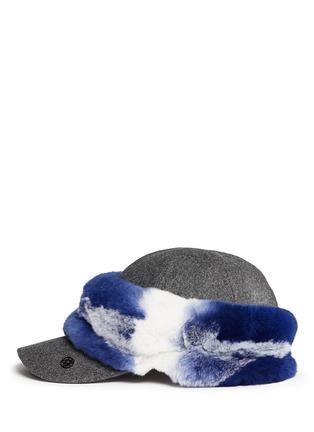 模特儿示范图 - 点击放大 - MAISON MICHEL - 兔毛点缀毛毡棒球帽
