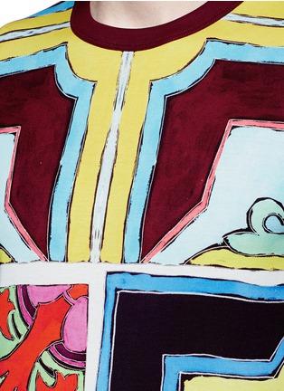 细节 - 点击放大 - DOLCE & GABBANA - 多色瓷砖印花纯棉T恤