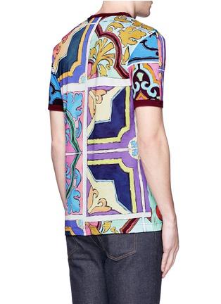背面 - 点击放大 - DOLCE & GABBANA - 多色瓷砖印花纯棉T恤