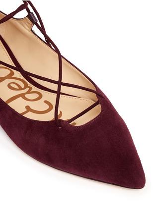 细节 - 点击放大 - SAM EDELMAN - Rosie绒面皮拼接系带平底鞋