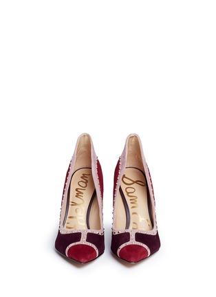 正面 - 点击放大 - SAM EDELMAN - 拼贴设计铆钉装饰绒面真皮高跟鞋