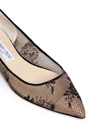 细节 - 点击放大 - JIMMY CHOO - ALINA蕾丝尖头平底鞋