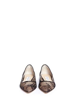 模特示范图 - 点击放大 - JIMMY CHOO - ALINA蕾丝尖头平底鞋
