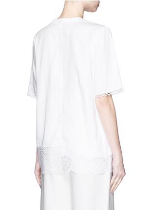 背面 - 点击放大 - STELLA MCCARTNEY - 花卉镂空刺绣装饰混棉上衣