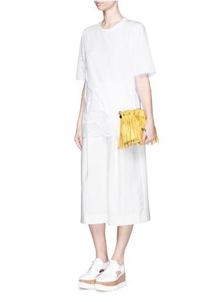 模特示范图 - 点击放大 - STELLA MCCARTNEY - 花卉镂空刺绣装饰混棉上衣