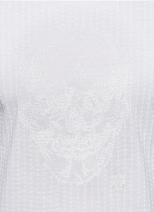 细节 - 点击放大 - ALEXANDER MCQUEEN - 骷髅及条纹刺绣纯棉T恤