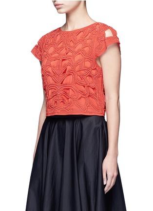 正面 - 点击放大 - ALICE + OLIVIA - POLLIE串珠装饰镂空短款上衣