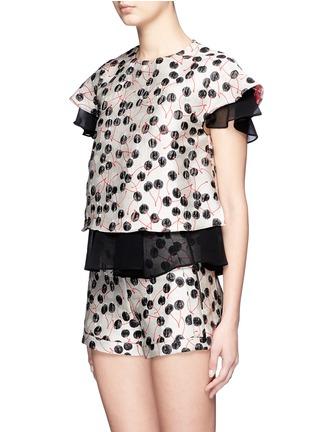 正面 -点击放大 - GIAMBA - 拼色樱桃提花双层设计上衣