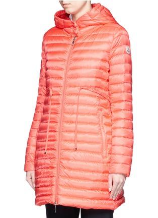 正面 -点击放大 - MONCLER - 'Barbel' drawstring waist hooded long down jacket