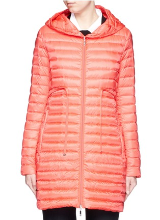 首图 - 点击放大 - Moncler - 'Barbel' drawstring waist hooded long down jacket