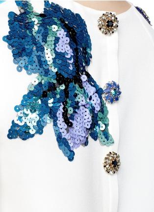 细节 - 点击放大 - DOLCE & GABBANA - 珠片装饰风景图案真丝连衣裙