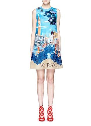 首图 - 点击放大 - DOLCE & GABBANA - 珠片装饰风景图案真丝连衣裙