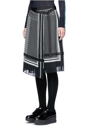 正面 - 点击放大 - SACAI - 波点围巾印花百褶半身裙
