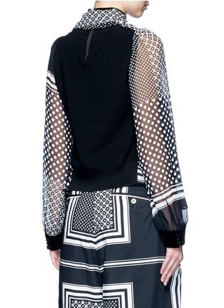 背面 - 点击放大 - SACAI - 羊毛拼接围巾印花雪纺上衣