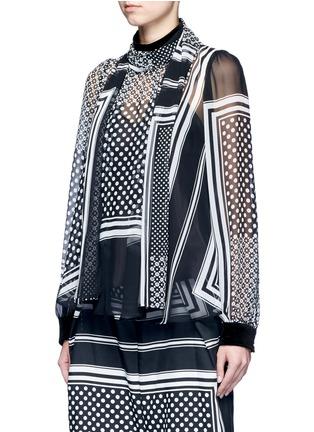 正面 -点击放大 - SACAI - 羊毛拼接围巾印花雪纺上衣
