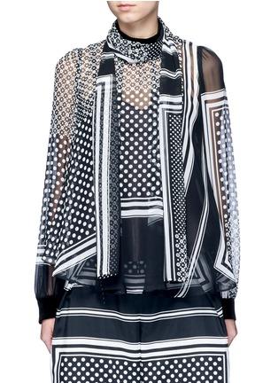 首图 - 点击放大 - SACAI - 羊毛拼接围巾印花雪纺上衣
