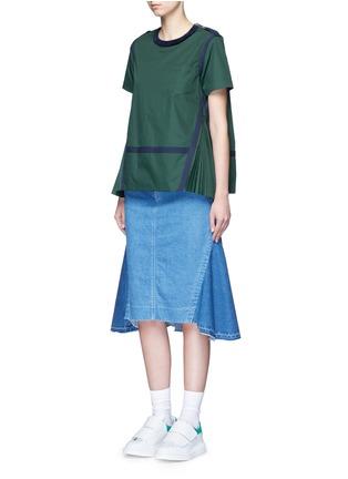 模特示范图 - 点击放大 - SACAI - 布条边饰百褶拼接上衣
