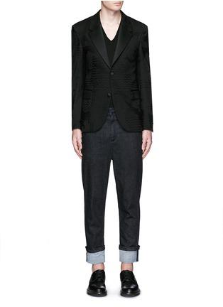 模特儿示范图 - 点击放大 - NEIL BARRETT - 几何叶纹暗花混羊毛礼服外套
