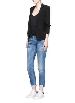 模特示范图 - 点击放大 - ISABEL MARANT ÉTOILE - 低圆领盖肩袖亚麻T恤