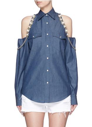 首图 - 点击放大 - FORTE COUTURE - 链条人造珍珠装饰露肩衬衫