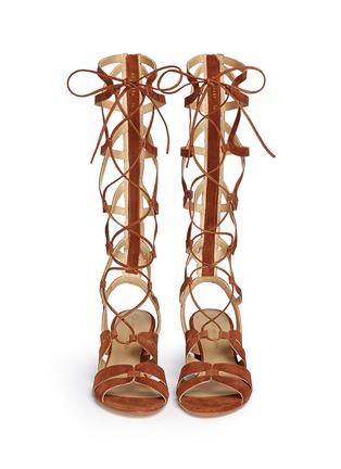 正面 - 点击放大 - STUART WEITZMAN - 交叉系带绒面皮粗跟罗马凉鞋