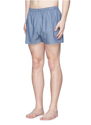 模特儿示范图 - 点击放大 - SUNSPEL - 蜂巢图案纯棉平脚内裤