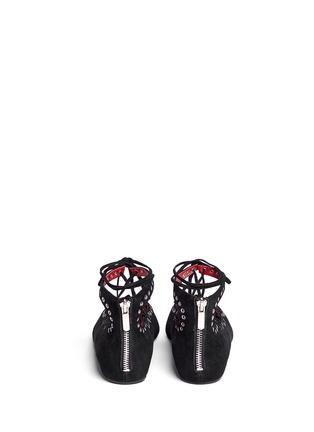背面 - 点击放大 - PEDDER RED - 孔钉系带混色麂皮平底鞋