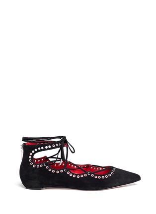 首图 - 点击放大 - PEDDER RED - 孔钉系带混色麂皮平底鞋
