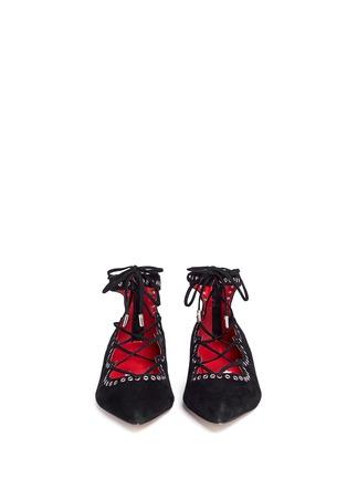 模特儿示范图 - 点击放大 - PEDDER RED - 孔钉系带混色麂皮平底鞋